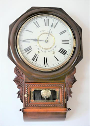 1890 Anglo American Striking Drop Dial Wall Clock (1 of 7)
