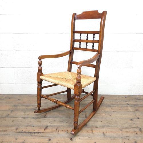 19th Century Rush Seat Rocking Armchair (1 of 9)