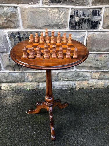 Antique Inlaid Walnut Tripod Games Table (1 of 7)