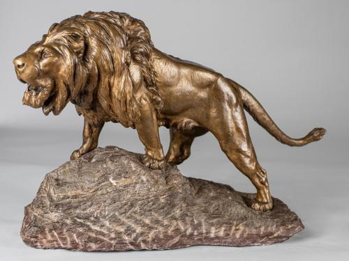 Stunning Large French Bronze Sculpture of Roaring Lion - Signed Le Courtier (1 of 10)