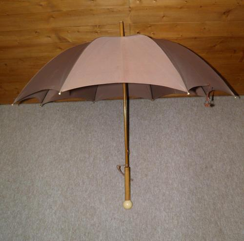 Antique Fawn Coloured Canopy Umbrella With Billiard Inspired Ball Handle (1 of 14)