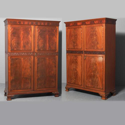 Pair of George III Style Mahogany Wardrobes c.1920 (1 of 18)
