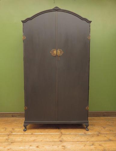 Vintage Black Painted 1950s Armoire Wardrobe, Gothic Shabby Chic (1 of 16)