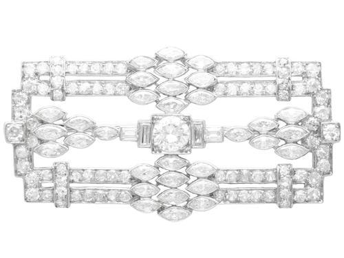 4.90ct Diamond & Platinum Brooch - Art Deco c.1925 (1 of 9)