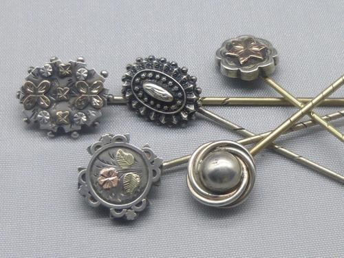 5 Silver Edwardian & Victorian Stickpins (1 of 12)