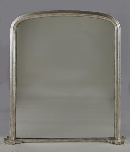 Large English Victorian Silvered Overmantle Mirror (1 of 6)