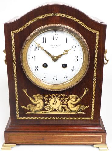 Incredible Solid Mahogany Cased Mantel Clock with Bone Inlay by James Weir (1 of 10)