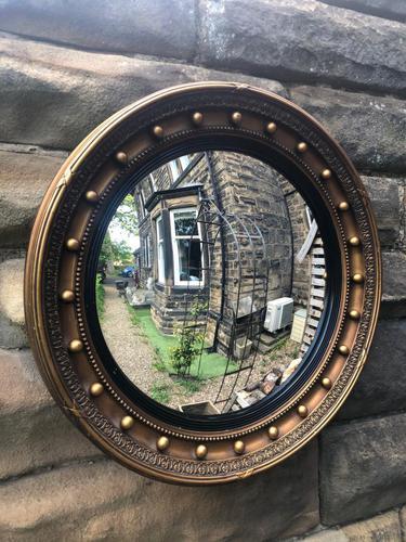 Antique Gilt Framed Convex Wall Mirror (1 of 5)