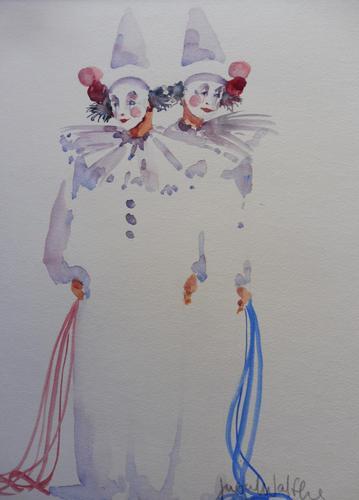 Watercolour Two Clowns Listed Irish Artist Judith Caulfield Walsh (1 of 10)