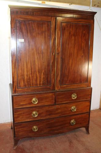 1900's Mahogany Linen Press All hanging with 2 Drawers (1 of 4)