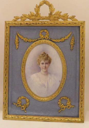 Edwardian Miniature Portrait Ormolu Frame Jeanie Boyle 1913 (1 of 5)