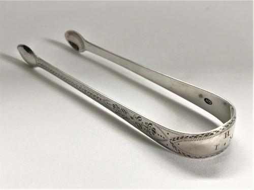 Charming Pair of Georgian Bright Cut Silver Tongs (1 of 5)