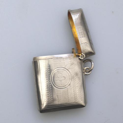 Irish Interest - Attractive Solid Silver Vesta Case - Shamrock c.1903 (1 of 5)