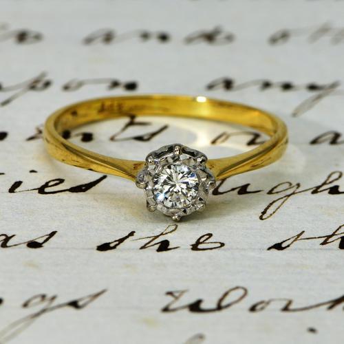 The Vintage Illusion Set Brilliant Cut Diamond Solitaire Ring (1 of 3)