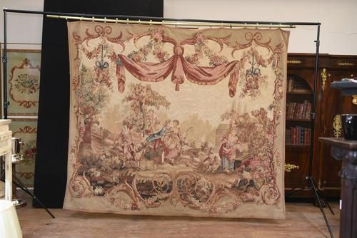 Antique French Tapestry Classical Courtly Love Romance c.1860 (1 of 17)