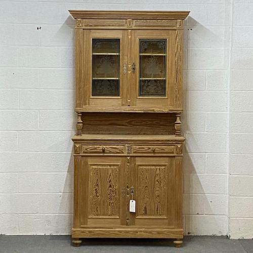 Very Tall Antique Pine Partly Glazed Dresser (1 of 8)