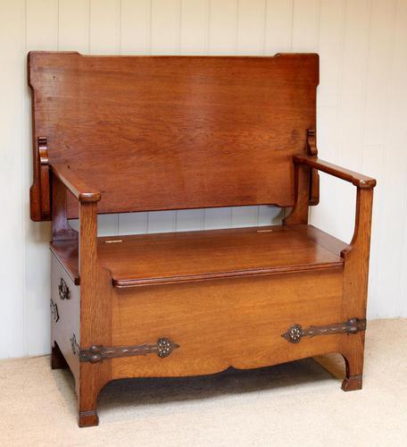Arts & Crafts Solid Oak Monks Bench (1 of 12)