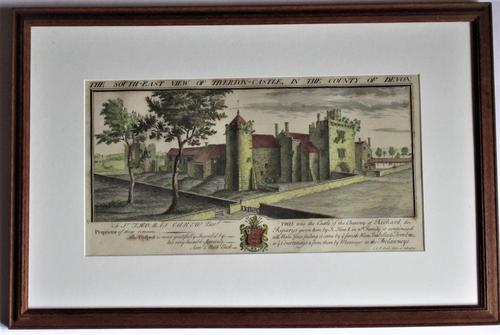 S & N Buck, Tiverton Castle, Devon, 1734, Early Copy Of Antique Print, Framed (1 of 7)