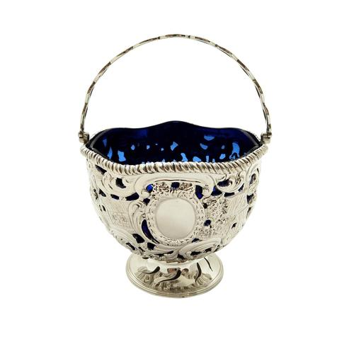 Antique Sterling Silver Basket with Scenes &  Blue Glass Liner 1901 (1 of 11)