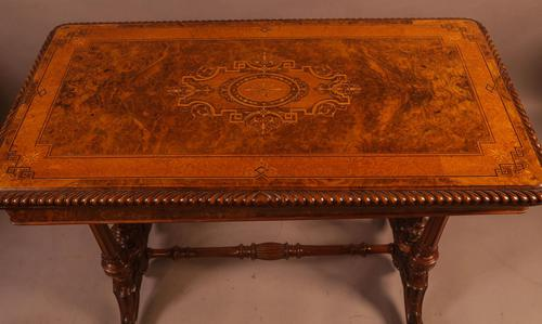 Super Quality Victorian Burr Walnut & Marquetry Card Table (1 of 12)