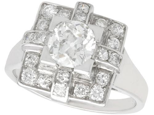 1.53ct Diamond & Platinum Dress Ring - Art Deco - Vintage French c.1940 (1 of 9)