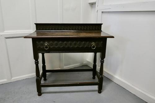 Carved Gothic Oak Side Table (1 of 8)