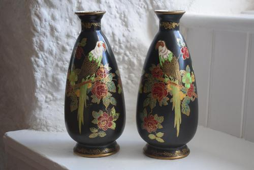 Pair of Crown Devon Lusterware Vases Decorated with Parrots (1 of 10)