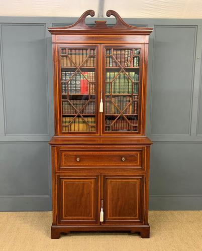 Edwardian Inlaid Mahogany Secretaire Bookcase (1 of 21)