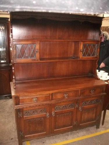 Old Charm Linenfold Lead Glazed Dresser (1 of 2)