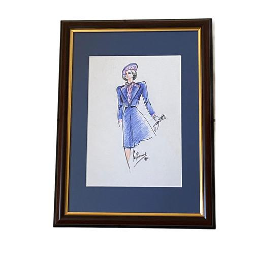 Set of 9 Original Drawings by Ian Thomas - Dressmaker for the Royal Family (1 of 9)