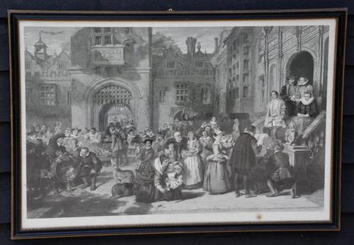 Large 19th Century Engraving. Busy Interior Courtyard Scene (1 of 6)