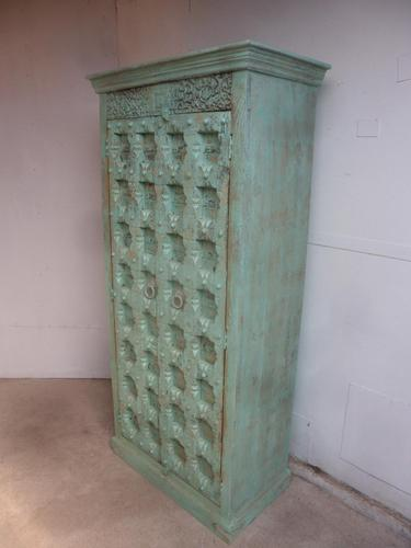 Handmade Indian Mango & Teak Large Painted Light Green 2 Door Storage Cupboard (1 of 11)