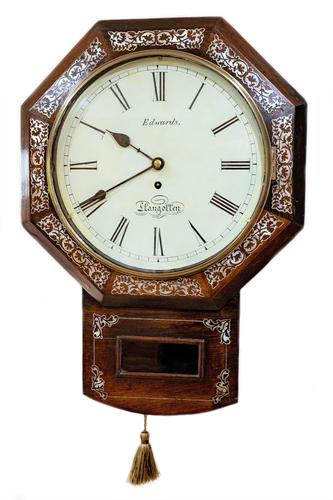 Wonderful 1852 Welsh Drop Dial Fusee Wall Timepiece by Thomas Edwards (1 of 10)