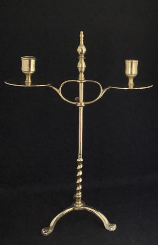 Arts &  Crafts Brass Adjustable Students Two Branch Candelabra (1 of 4)