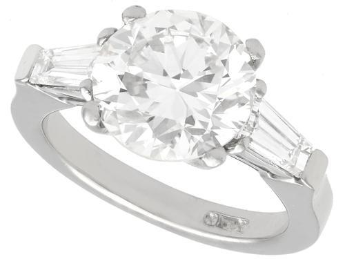 3.19ct Diamond & Platinum Solitaire Ring - Art Deco (1 of 9)