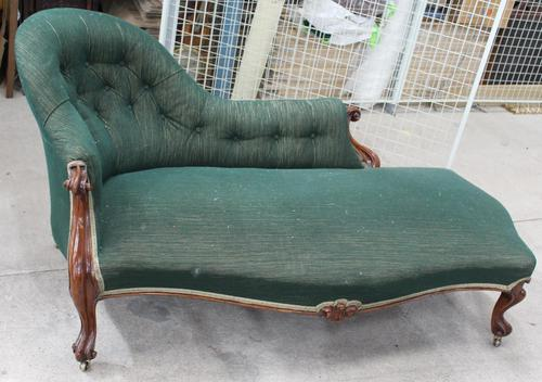 1900's Carved Mahogany Chaise with Buttoned Back in Green (1 of 3)