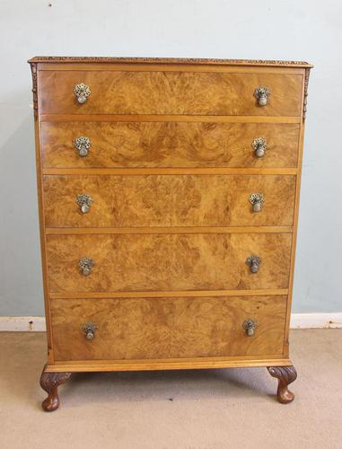 Burr Walnut Chest of Drawers c.1930 (1 of 12)