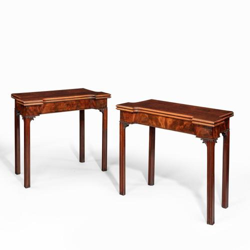Very Fine Pair of George III Mahogany & Plum Pudding Mahogany Concertina Action Card Tables (1 of 17)
