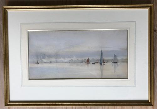 Watercolour by William Lionel Wyllie RA  1893  'on the Medway' (1 of 3)