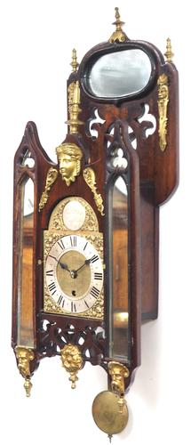 Very Rare English Fusee 5 Inch Dial Wall Clock Mahogany Gothic Ormolu Wall Clock by James Parker Cambridge (1 of 12)