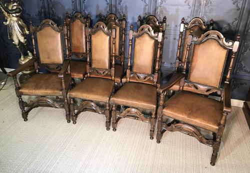 Quality Set of Eight Carolean Style Oak Dining Chairs (1 of 22)