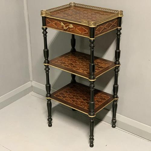 French Geometric Marquetry Etagere Side Table (1 of 3)