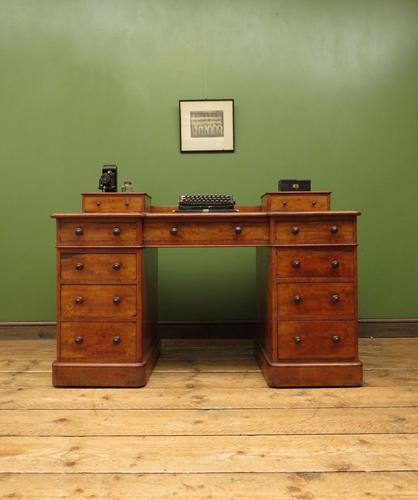 Antique Satin Birch Pedestal Desk by Heal & Sons (1 of 21)