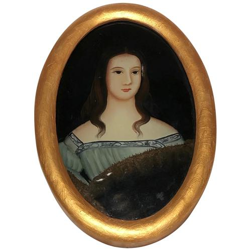 Fine Art Italian School 19th Century Miniature Portrait Countess Noble Lady Oil Painting (1 of 11)