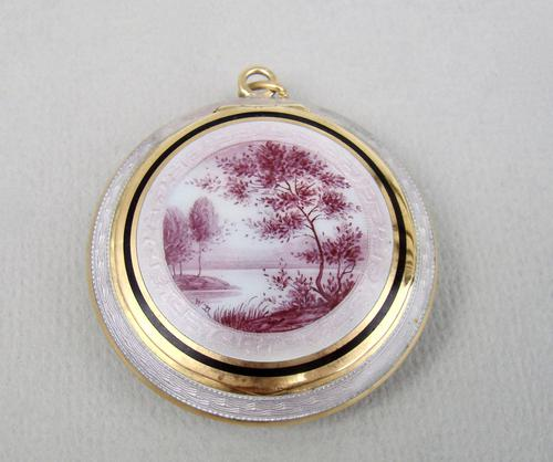 Rare 19th Century French enamel silver gilt compact with pink camaieu river landscape (1 of 8)