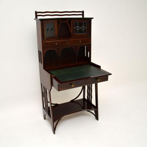 Antique Edwardian Arts & Crafts Mahogany Writing Bureau (1 of 12)