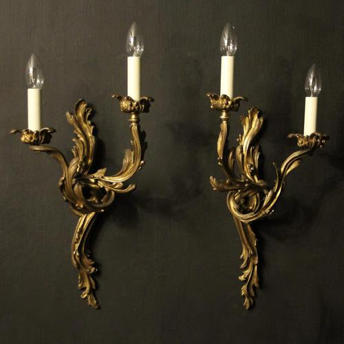 French 19th Century Pair of Bronze Antique Wall Sconces (1 of 10)