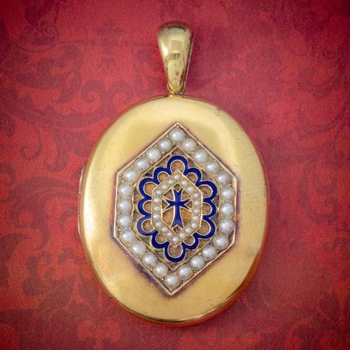Antique Victorian 18ct Gold Pearl Locket Blue Enamel Cross Circa 1900 Boxed (1 of 6)