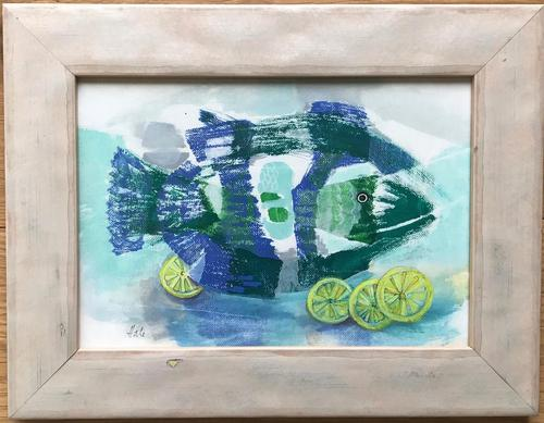 Original Oil on Canvas Paper 'lemon Sole' by Helen Hale. Roi. B.1936 Signed. Circa 1970. Framed (1 of 2)