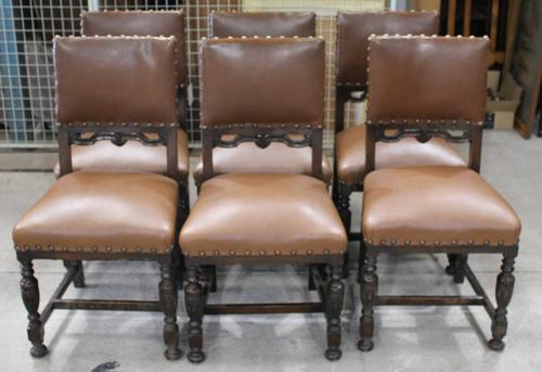 1940s Set of 6 Oak Dining Chairs with Brown Leather Seats (1 of 3)